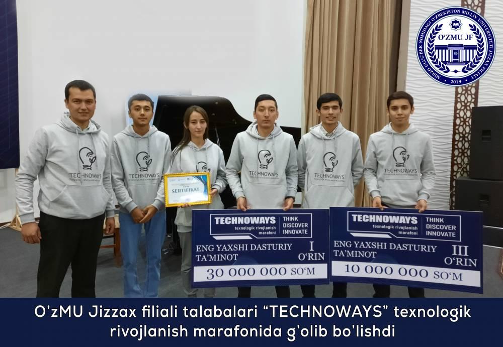 """O'zMU Jizzax filiali talabalari """"Technoways"""" texnologik rivojlanish marafonida g'olib bo'lishdi."""